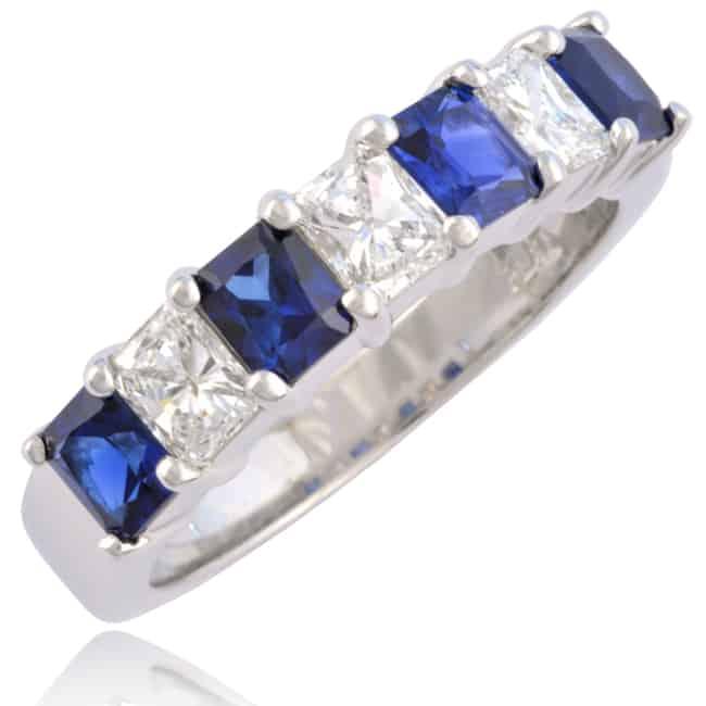 Radiant cut Diamonds & Sapphires Circlet Image