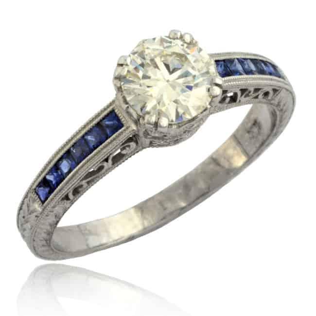 Princess Sapphire & Diamond Ring Image