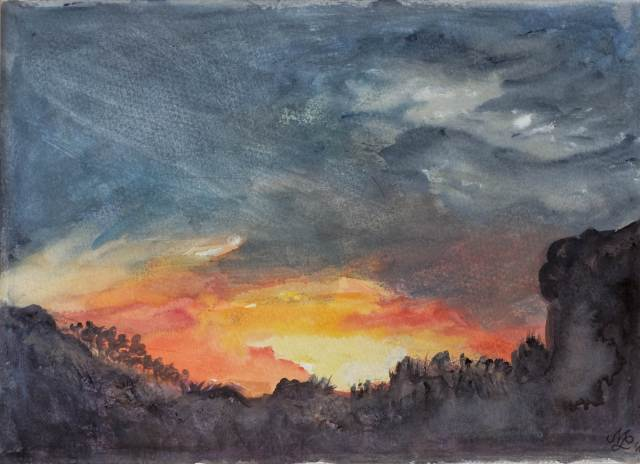 2014 - Sonnenuntergang - 35x25cm, Aquarell