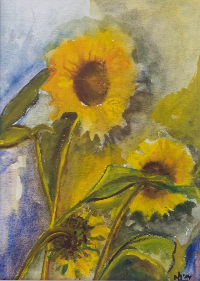 2014 - Sonnenblumen, 20x28cm, Aquarell