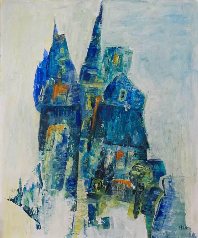2003 - Blaue Türme, 40x50cm, Acryl-Spachteln