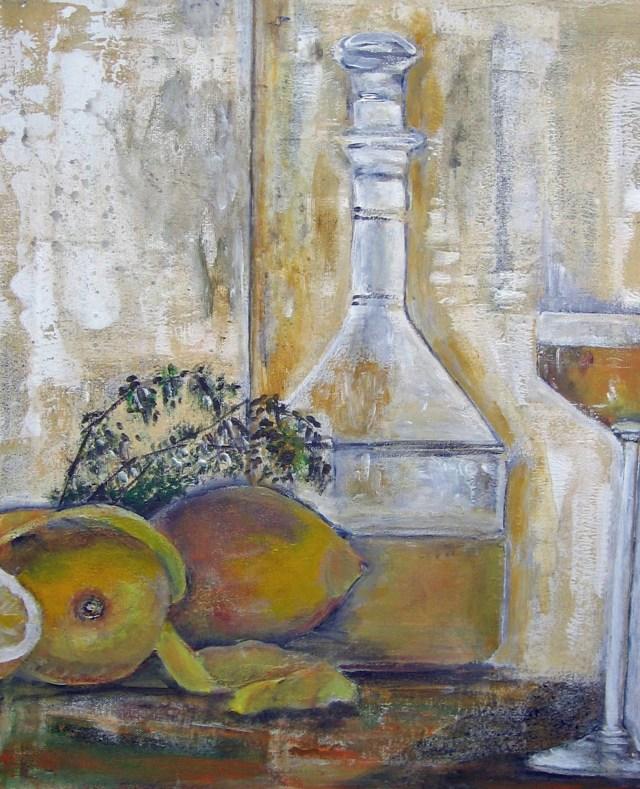 2009 - Flasche, Zitrone, 40x50cm, Acryl-Spachteln