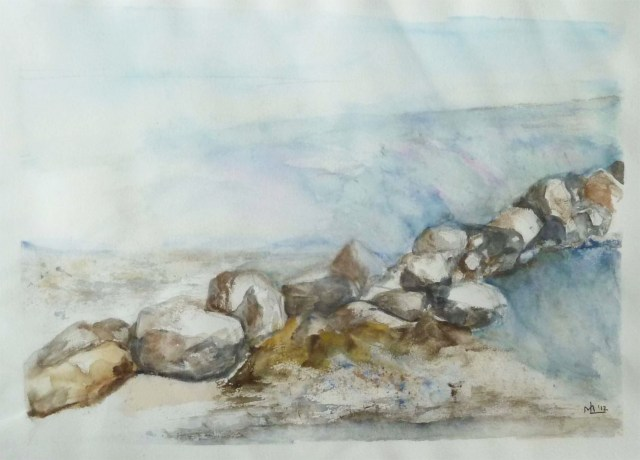 2014 - Meer mit Steinen, 50x40cm, Aquarell