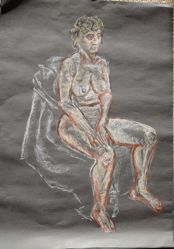 Sitting female, White chalk and soft pastel on A1 black sugar paper