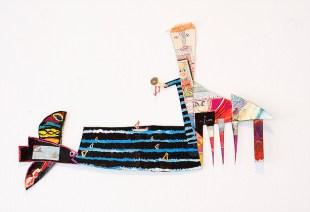Acrylic and colour pencils on canvas fabric. 32x47cms 2014