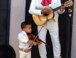 Band Leader Pete Gonzalez With His Grandson Omar
