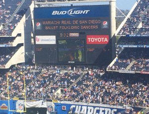 Scoreboard At Qualcomm Stadium For Chargers Halftime Performance