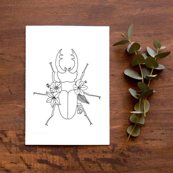 lámina escarabajo flores