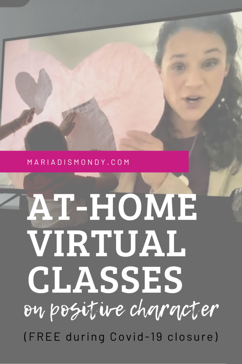 At-Home Learning with Maria-Maria set up a virtual classroom. Three days a week, 30 minutes for each class, in video format-LIVE and FREE. #VirtualClasses #PositiveCharacter OnlineClasses