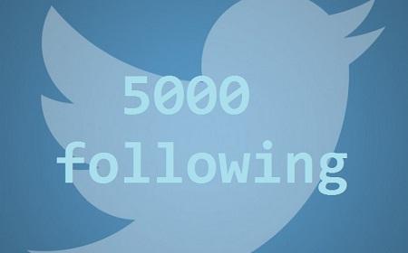 Twitter amplía su límite de seguimiento a 5000 cuentas