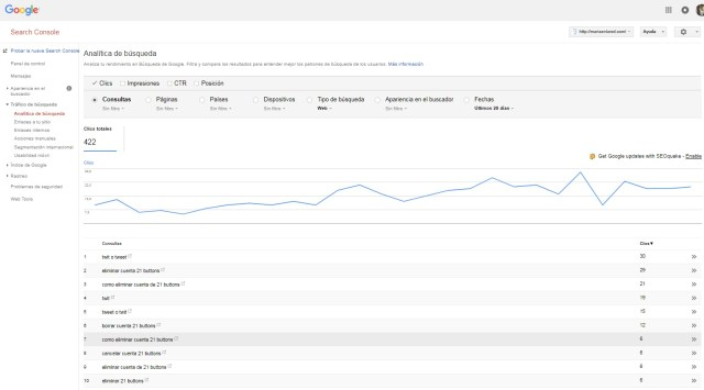 Google Search Console Analitica de busqueda listado top busquedas | Maria en la red