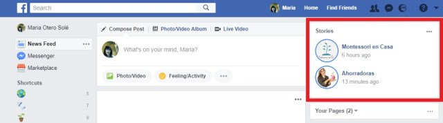 facebook stories muro desktop