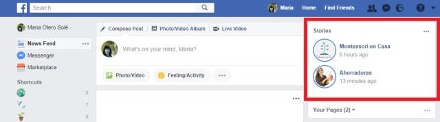 facebook stories muro desktop