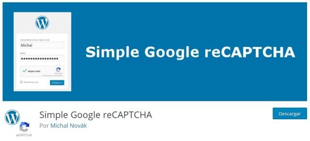 Plugins imprescindibles para WordPress Simple Google reCAPTCHA