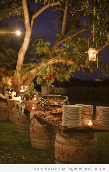 bare d ap ritif au jardin fabriqu avec tonneaux de vin d coration mariage id es pour. Black Bedroom Furniture Sets. Home Design Ideas