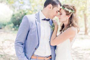 marion, ateick, mariage nature, Montpellier, couple de mariés, robe de mariée, costume de marié
