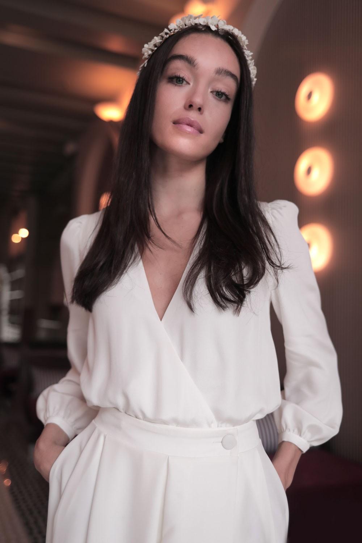 Blouse Emma, collection mariage 2021, Maison Lemoine Paris, haut blanc mariage