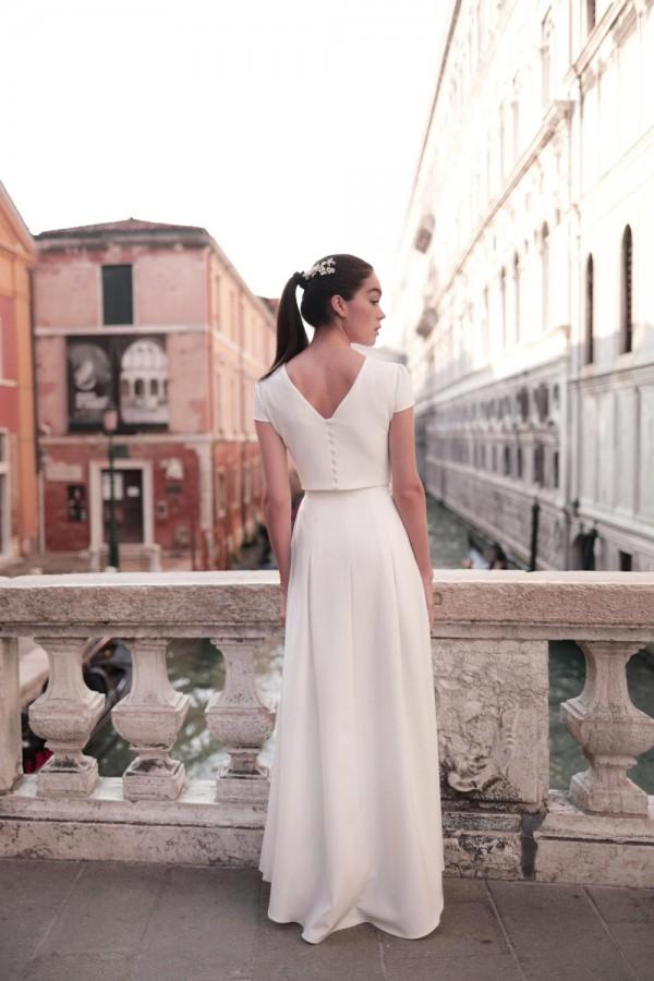 jupe portefeuille, collection mariage 2021, Maison Lemoine Paris, robes de mariée, modèle Aure