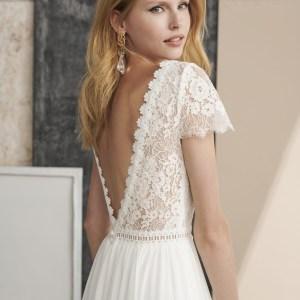 Modèle Amise, collection 2022 Marylise, Robe de mariée bohème, dentelles, boutique L'Écrin Blanc
