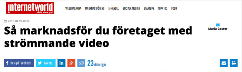 Ny artikel på internetworld.se