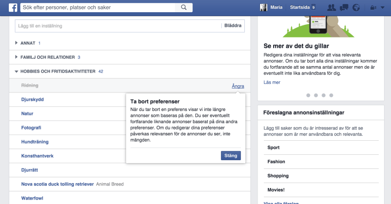 Så här ändrar du annonspreferenser på Facebook