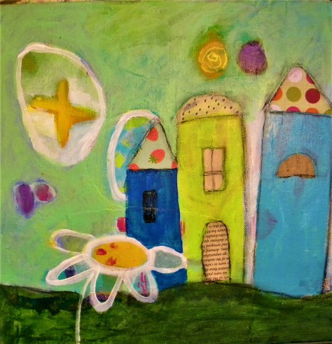 funky houses, whimsical art