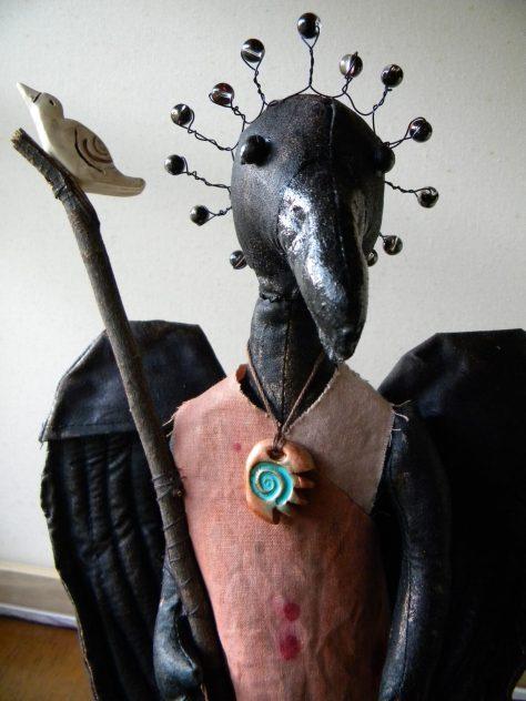 Making a crow spirit doll