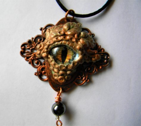 Dragon eye, polymer clay pendant
