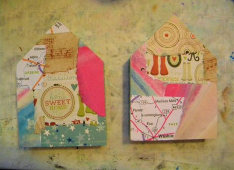 Paper scraps attached, art house tutorial.