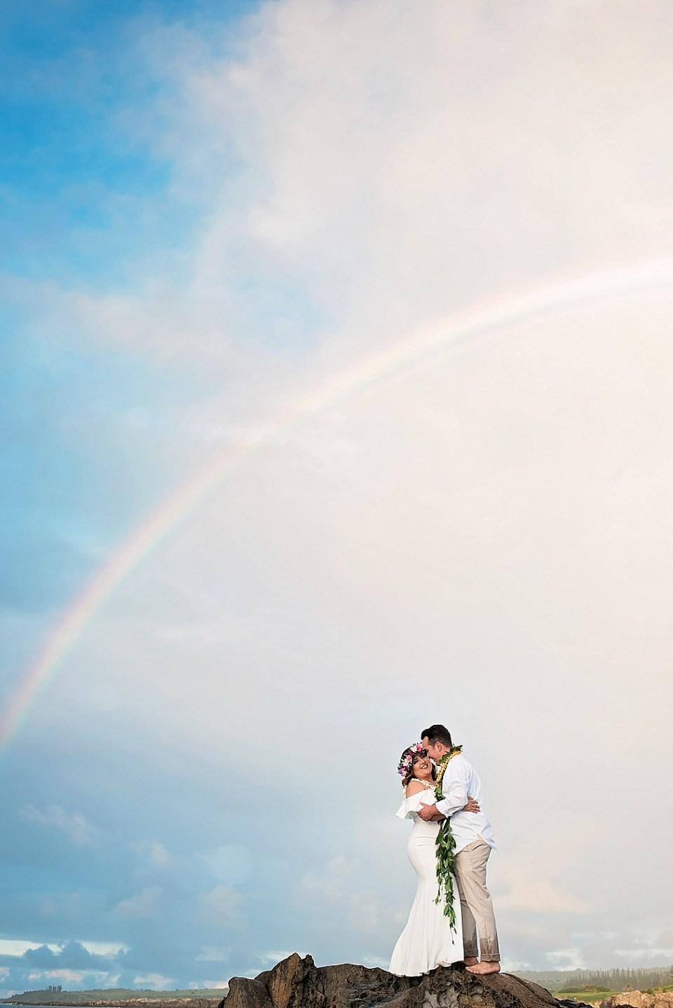 Dramatic wedding rainbows at Ironwood Beach in Kapalua