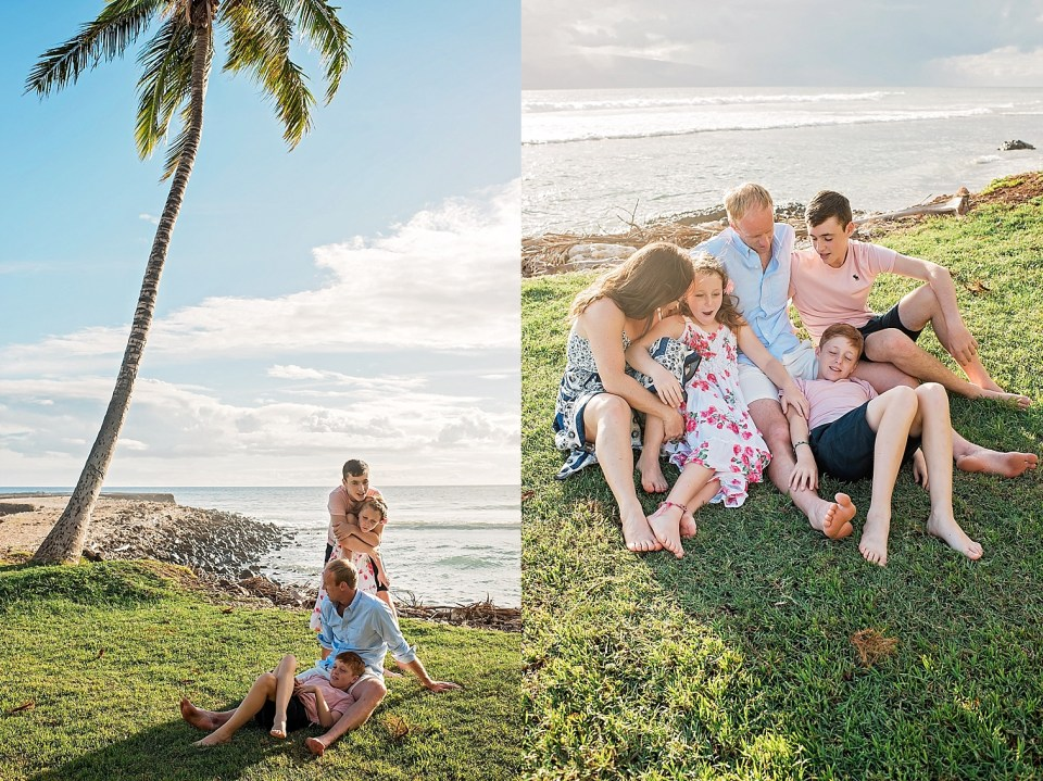 snuggles under palm trees at Olowalu Maui
