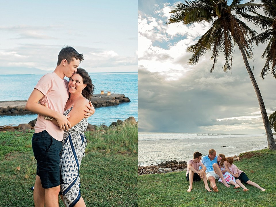 Family time on vacation for a photo session on Maui
