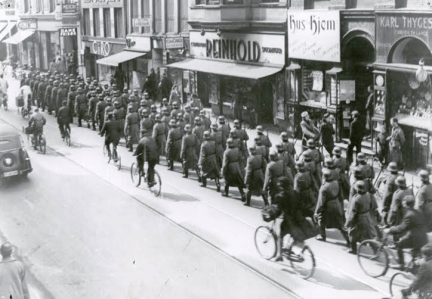 The frightening sight of green German soldiers in the streets of Copenhagen
