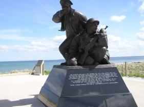 A memorial at one of the beaches invaded at D-Day