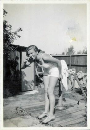 Eva brushing teeth