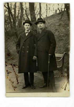 My grandmother's younger brother Svend 21 years old to the right in 1921 at Castellet Langelinje Copenhagen