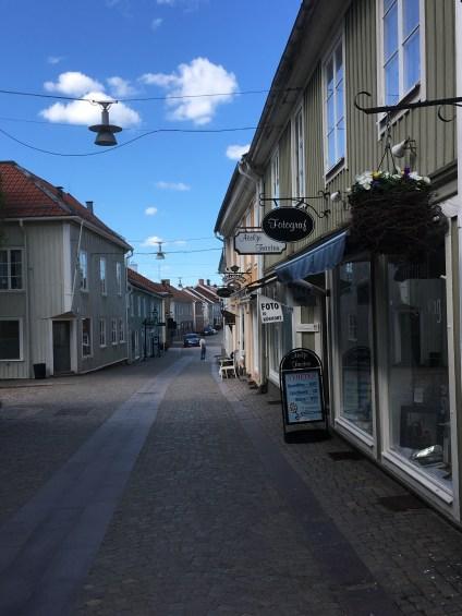 The street in Eksjoe with wooden houses