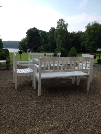 The old-fashioned out-door furniture at the terrace at the main building of Hindsgavl castle