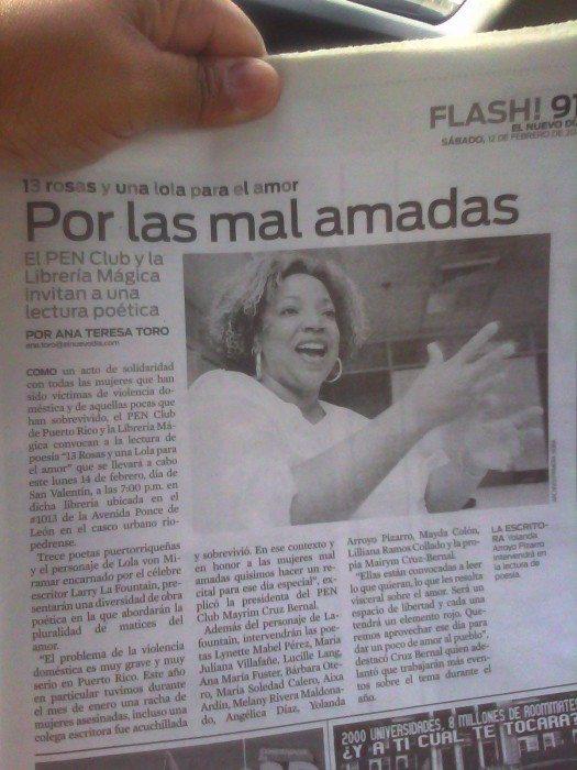 Nota de Prensa donde destacan a la escritora Yolanda Arroyo una de las Rosas de la noche