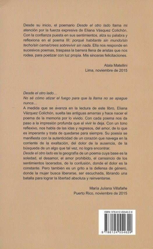 Contraportada del libro Del Otro Lado de Eliana Vázquez
