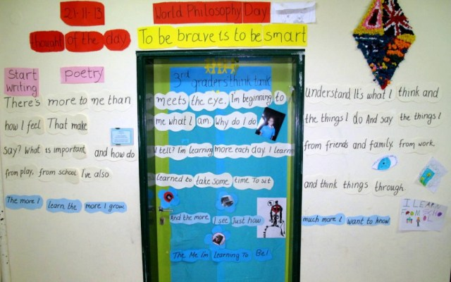 Photo of classroom door with poem
