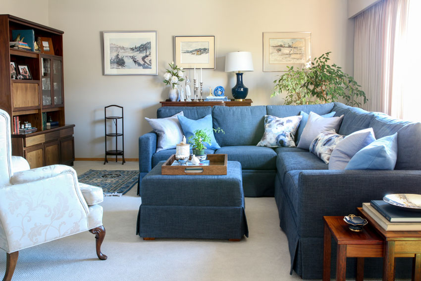 arranging pillows on a sectional