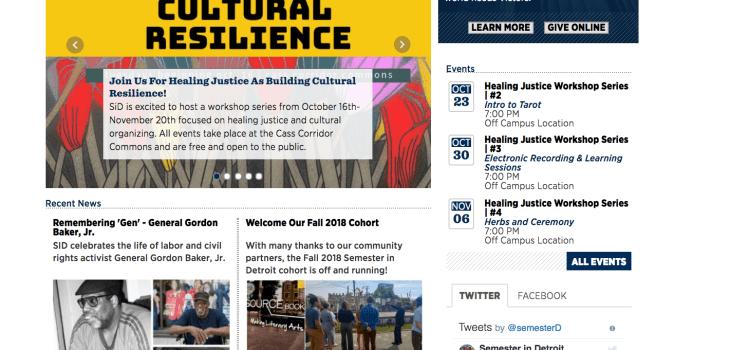 Semester in Detroit website screenshot