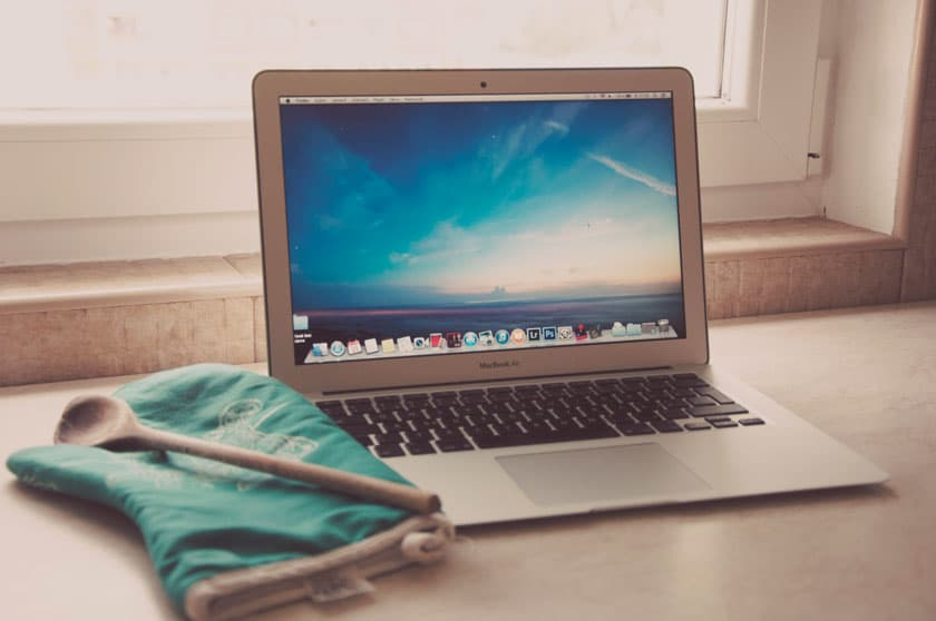 Laptop and oven mitten