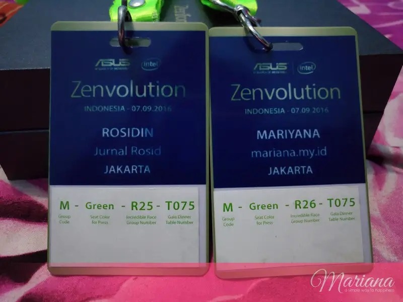 Name tag peserta Launching ASUS ZenFone 3