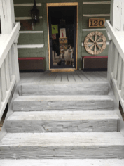 Front door. Roughhewn steps.