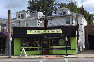 The Sweet Spot Candy Shoppe. Green. No, thanks.