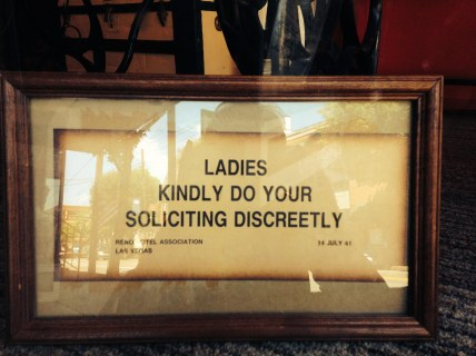 Not-so-discreet advice: Notation reads July 14, 1941 Reno - Las Vegas