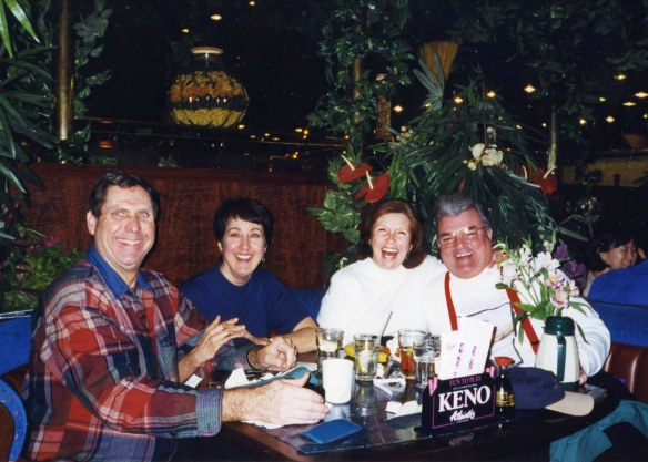 Hilarous fun: Helen and Charles Blankenship warming up with us after a cold day on the slopes at Lake Tahoe, Utah