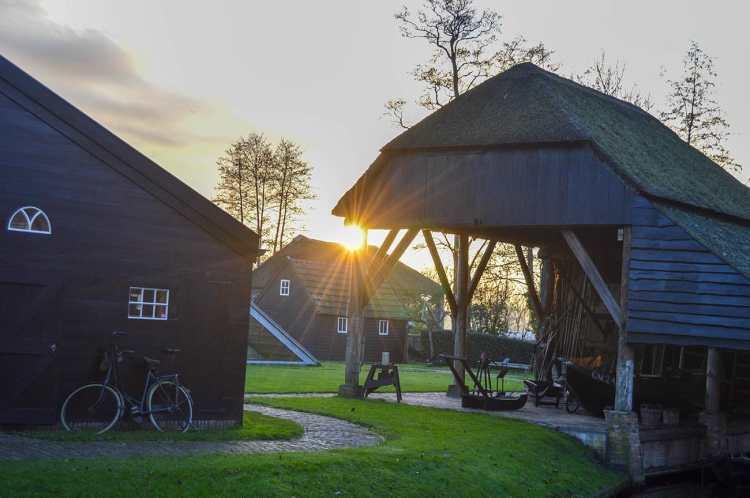 Soare printre case